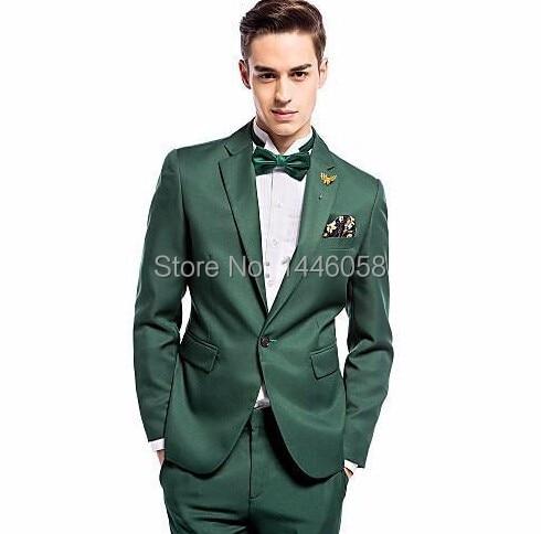2017 New Arrival One Button Dark Green Groom Tuxedos Groomsmen Men's Wedding Prom Suits Bridegroom Best Man (Jacket+Pants+Tie)