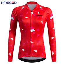 HIRBGOD Women Red Long Sleeve Cycling Jerseys 2017 High Quality Bicycle Sportswear Maillot Ciclismo Mountain Bike Clothing,EL007