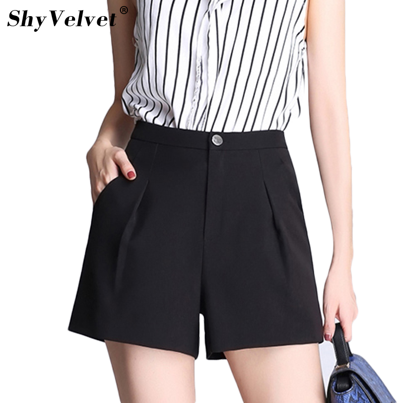 2018 Summer New Office Ladies Wide Leg Shorts Plus Size 3XL 4XL High Waist Female Work Wear Casual Short Trousers ...
