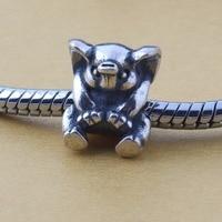 Vintage 925 Sterling Silver Lucky Elephant Charm Fit Pandora Bracelet Jewelry For Women