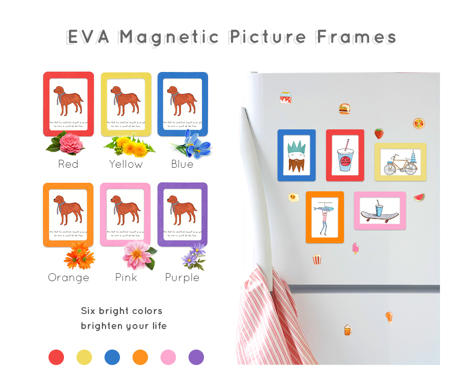 930_01 Colorful Magnetic Picture Frames Photo Fridge Magnets Photo frame Refrigerator Magnetic Photo Frames Wall Decor with EVA Surface