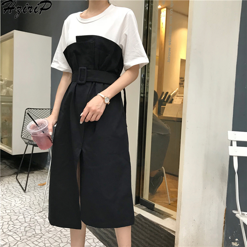 7663071637fdddd HziriP Новинка 2019, весенне-летние женские стильные свободные платья с  круглым вырезом, тонкое