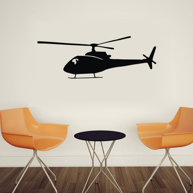 Black Printed Helicopter Wall Stickers Home Decor Kids Room Wall