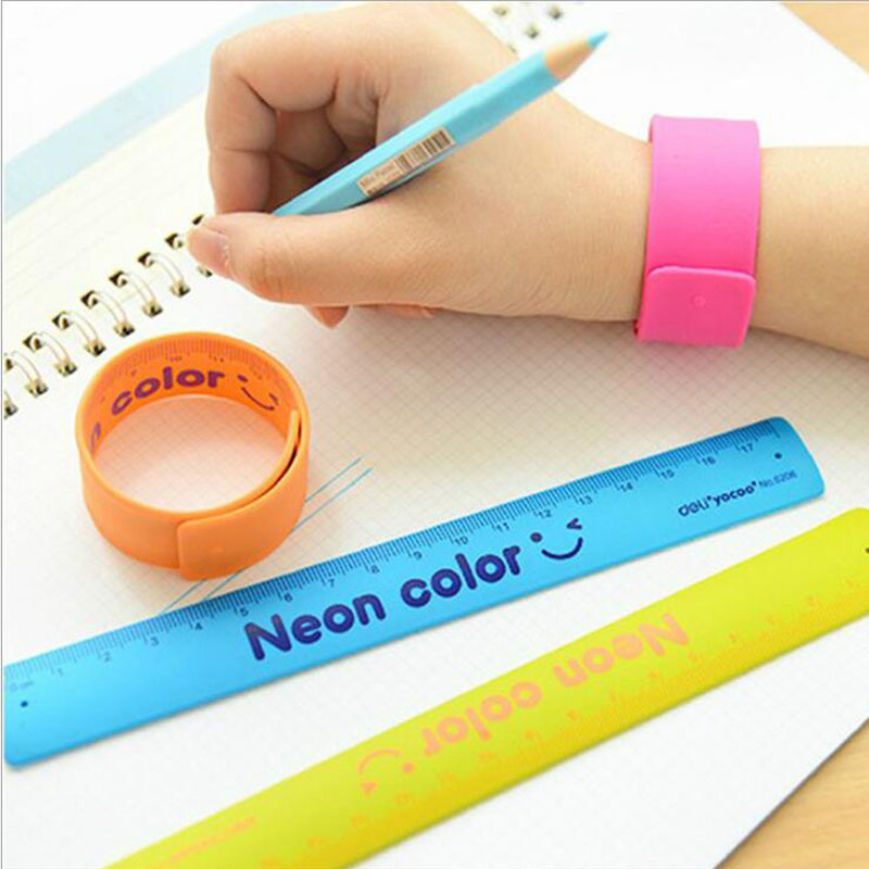 24pcs/lot New Arrival Flexible Wristband Ruler 18cm Measure Stationery Neon Color Straight Ruler Office School Supplies G106