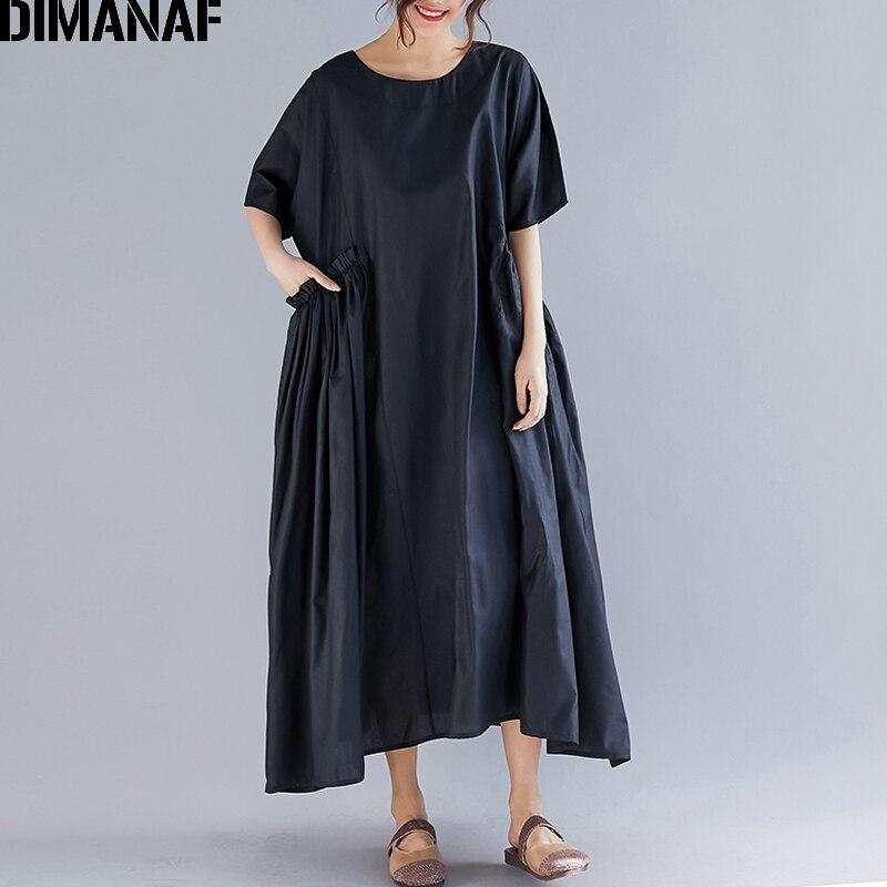 7c8bda3d1 DIMANAF Plus Size Mulheres Vestido de Senhora Vestidos de Verão Vestido de  Verão de Linho Do Vintage Feminino Solto Plissado Vestido Longo Preto  Tamanho ...