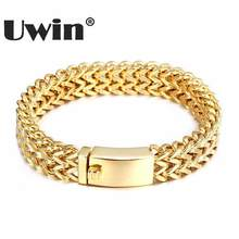 Uwin Mens Bracelets 2017 Top Quality 316L Stainless Steel Two Franco Link Charm Bracelet Hiphop Rock Men Jewelry Dropshippping(China)