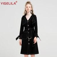 YIGELILA 2018 последние осень Для женщин Мода High Street Наборы для ухода за кожей черная короткая куртка и ремень Тонкий платье 2 шт. Наборы для ухода