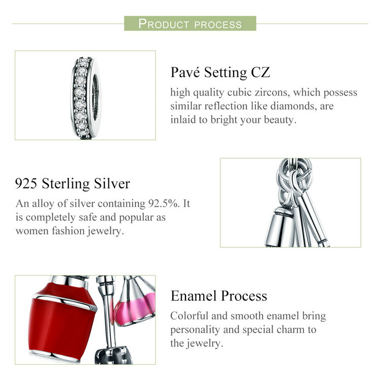 925 Sterling Silver Makeup Tools Cosmetics Pendant Charm