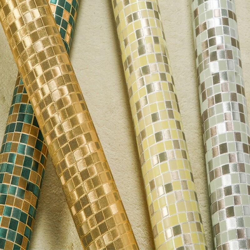 3D Embossed Gold Silver Mosaic Lattice Wallpaper Modern KTV Bar ...