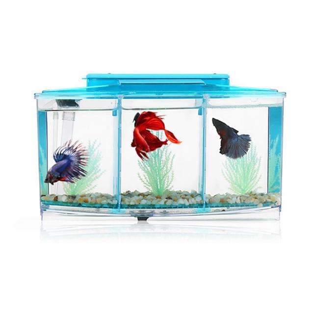 Acrylic three splits aquarium betta fish bowl led light for Fish tank volume calculator