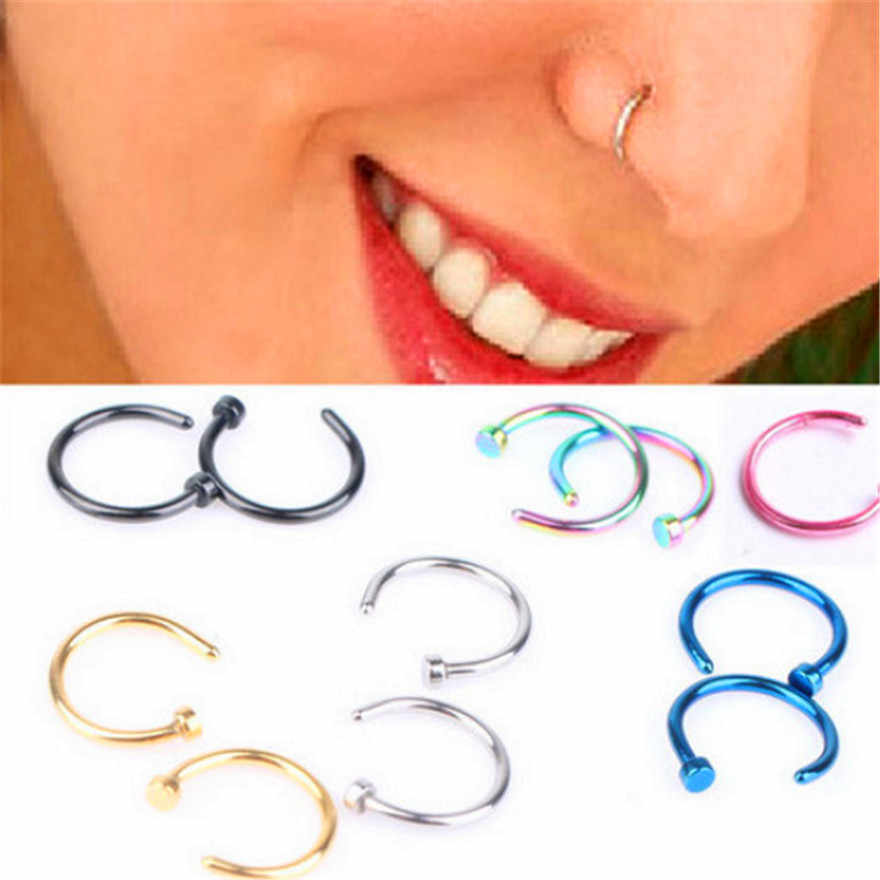 2pc/lot Cute Fashion Fake Septum Medical Titanium Nose Ring Piercing Silver Gold Body Clip Hoop Women Girls Septum Jewelry Gift