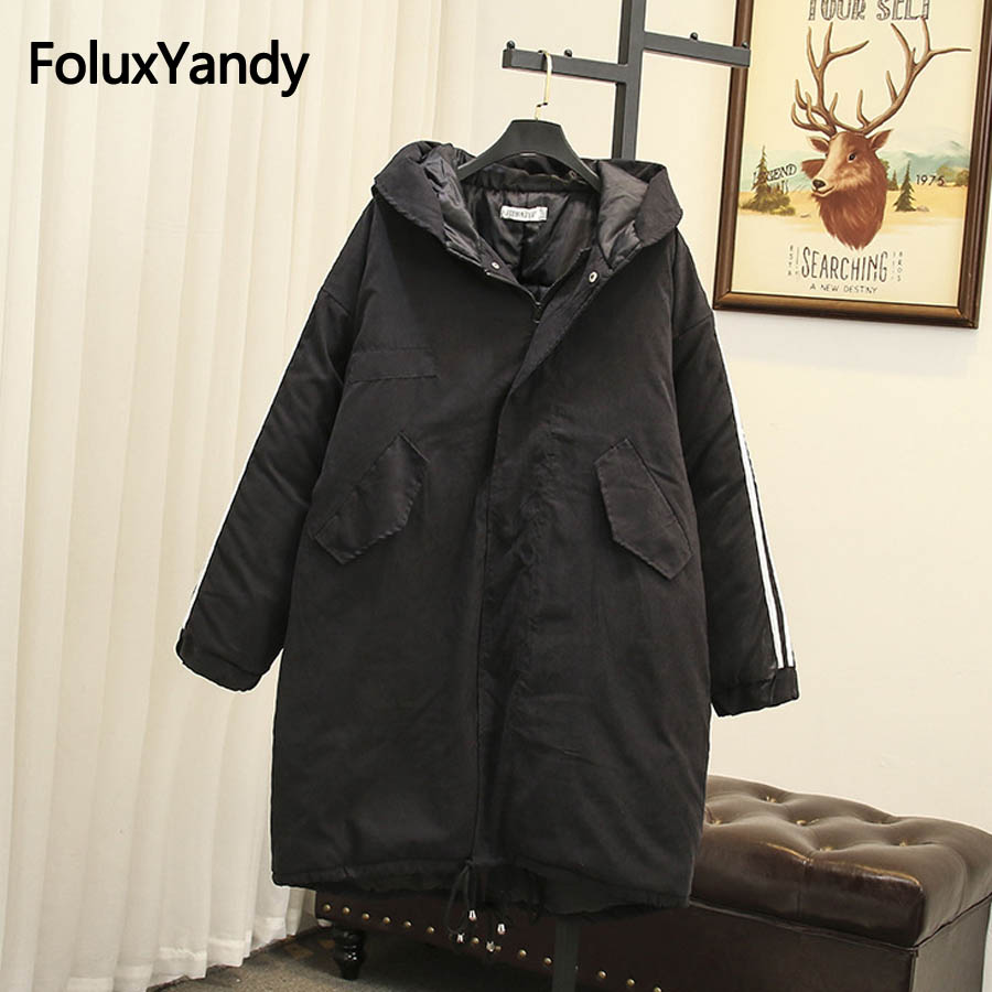 Striped Hooded   Parka   Winter Coats Women Plus Size 3XL 4XL Casual Loose Warm Thick Long   Parkas   Black Outerwear SWM1110