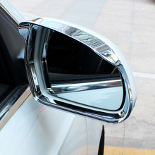 ABS Chrome For Audi Q3 2013 2014 2015 Car rearview mirror block rain eyebrow Molding Cover Trim Car Styling Accessories 2pcs for audi q3 2012 2015 abs chrome car front fog lamps frame decorative exterior stickers cover trim car styling accessories 2pcs