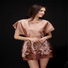 Sexy RAYON Women Sleepwear Short Sleeve Sleepshirt Nightgown Free Shipping