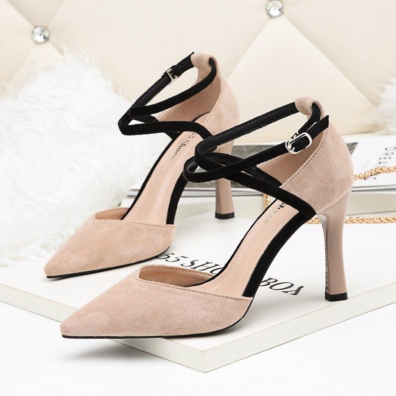 Gamuza Los Las Nueva Moda Cómodo Salvaje negro Zapatos Stiletto 2019 Tacones Mujer Simple Altos marrón De rojo Sexy Señaló Primavera Mujeres Beige Avdn7S