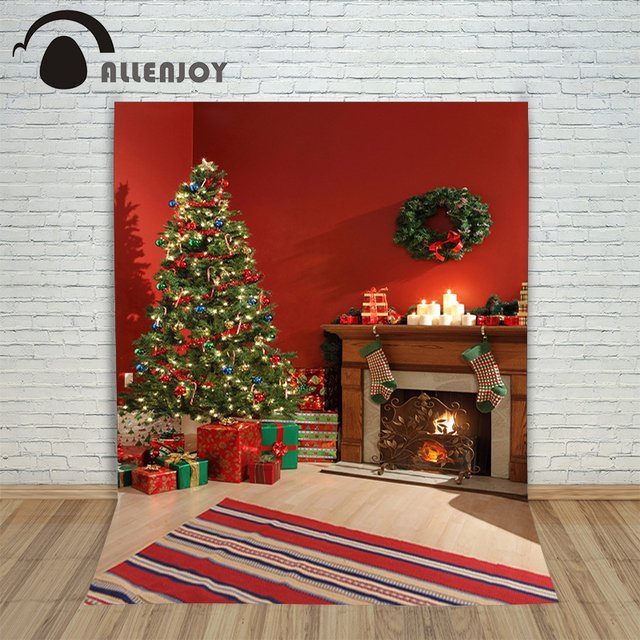 allenjoy photography backdrops christmas tree decorations wood fireplace presents photo background backgrounds for photo studio