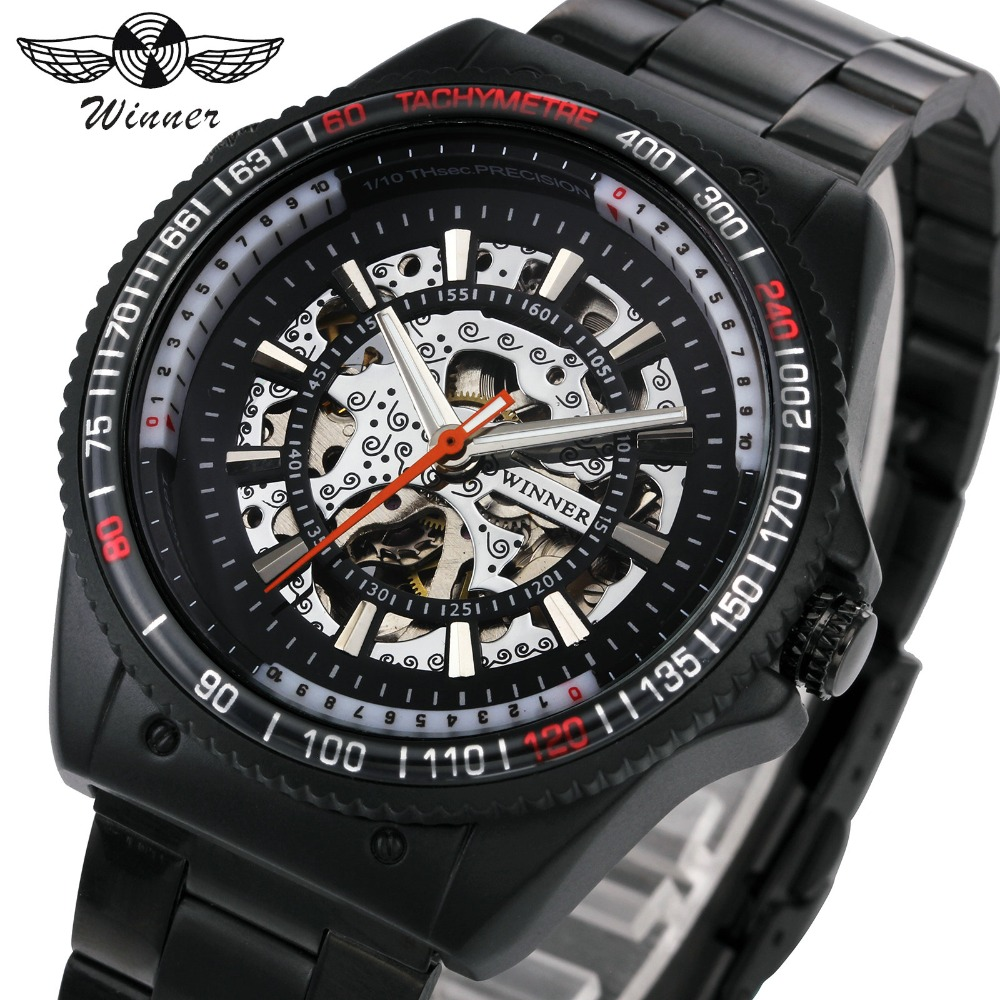 WINNER Army Military Men Automatic Mechanical Watch Stainless Steel Strap Classic Black Skeleton Dial Fashion Sport Wrist Watch hcandice new top selling classic men s leather dial skeleton mechanical sport army wrist watch gift 1pcs dec 13