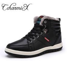 Ccharmix зима Для мужчин модные кожаные ботинки Теплый плюш Для мужчин S кожаная обувь мужские полусапоги дешевые зимние мужские ковбойские ботинки