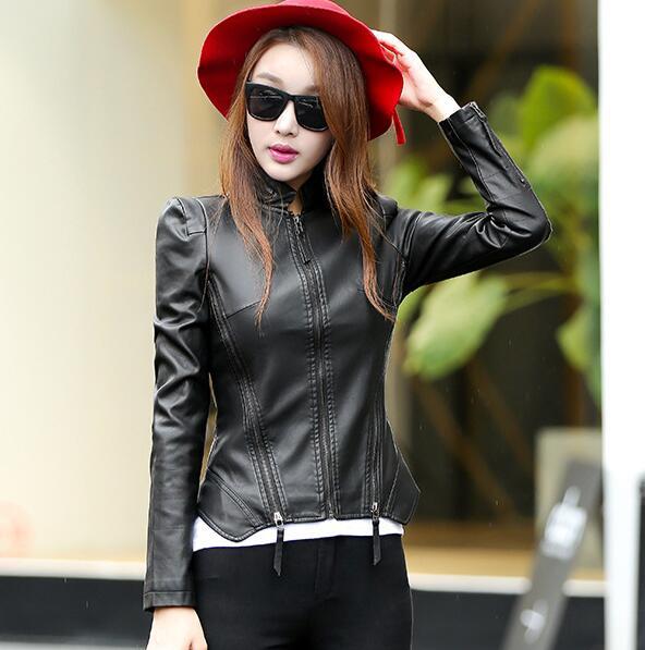 2018 New Autumn Leather Jacket Women Black Color Mandarin Collar Zippers Short Female Faux Leather Jackets 1