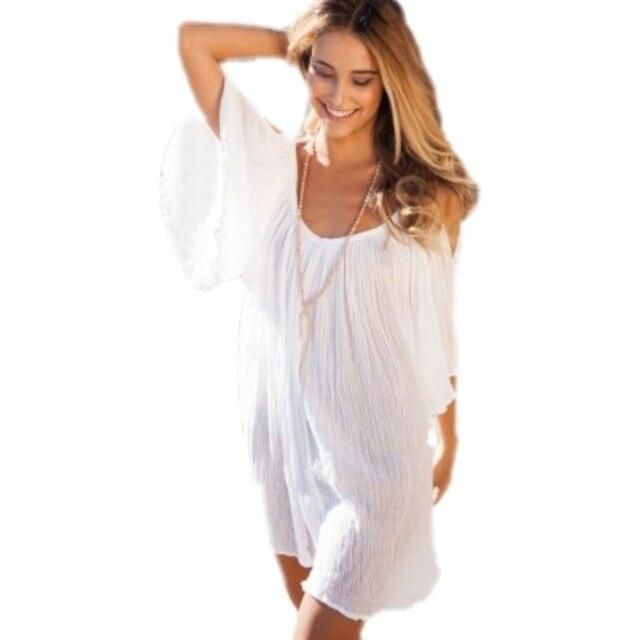 3454c1f1f30a5 Vestidos de novia 2016 new bohemian cute white sexy beach cover ups women  ruffled summer sundresses for women swimwear beachwear