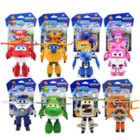 Super Wings Deformation Airplane Robot ABS Action Figures 6cm Anime Super Wing Transformation Jet Brinquedos Toys for Children