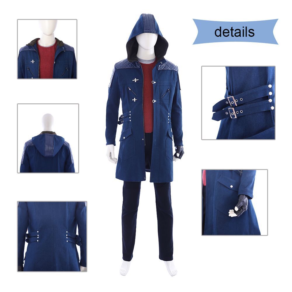 New Arrival Custom Devil May Cry 5 Cosplay Nero Wind Coat Blue Trench Costume for Halloween