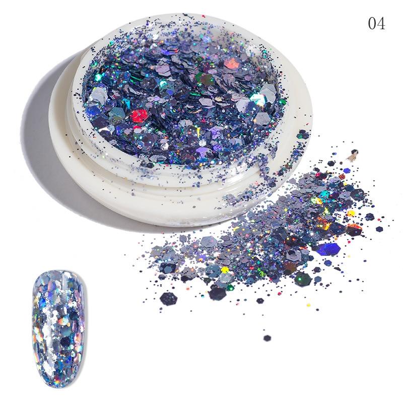 Garrafas 12 Paillette Mista Nail Art Glitter