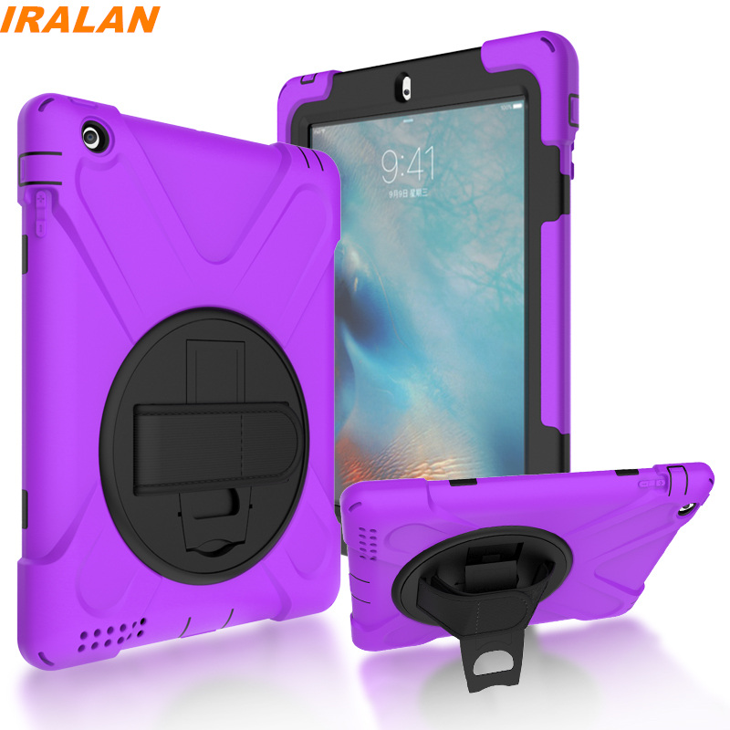 2017 new Kids Safe Silicon Shockproof Case for Apple iPad 2 3 4 360 Rotation with Hand Strap and Kickstand stand Cover+Film+Pen