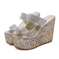 Fashion Sequins Slippers Woman Wedges sandals Rhinestone Summer high heels Slipper Casual flat Slip on Slides Mules Golden Shoes