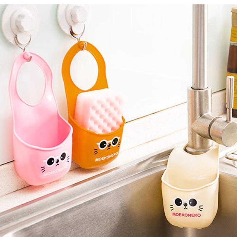Cute Cat Kitchen Sink Hanging Storage Bag Folding Bathroom Shelving Bag PVC Sponge Cleaner Soap Holder Organizer Rack Basket