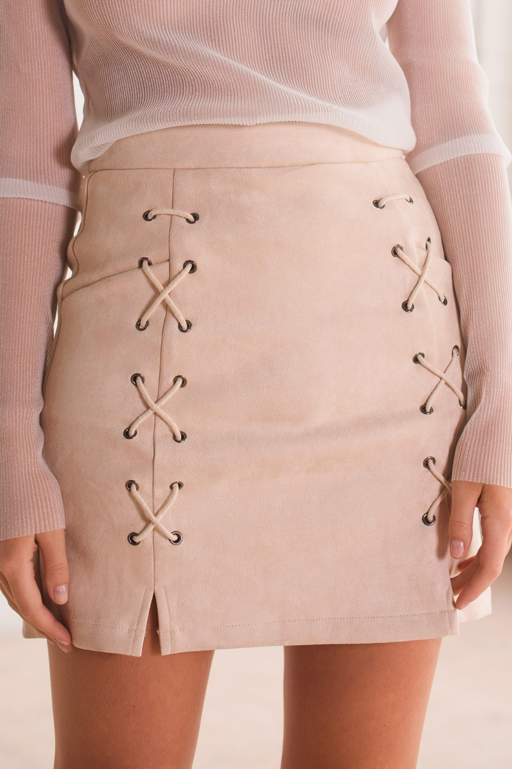 37f3452459 Autumn Women Lace Up Suede Leather Pencil Skirt High Waist Zip Back Split  Bodycon Short Saia Retro Harajuku Preppy Winter Skirt-in Skirts from Women's  ...