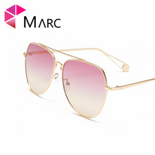 MARC 100%UV400 WOMEN 2018NEW Brand Design Fashion Trendy Metal Gradient Sunglasses Alloy Pilot Gafas Oculos Eyewear Clear Resin trendy women s clutch bag with metal and gradient color design