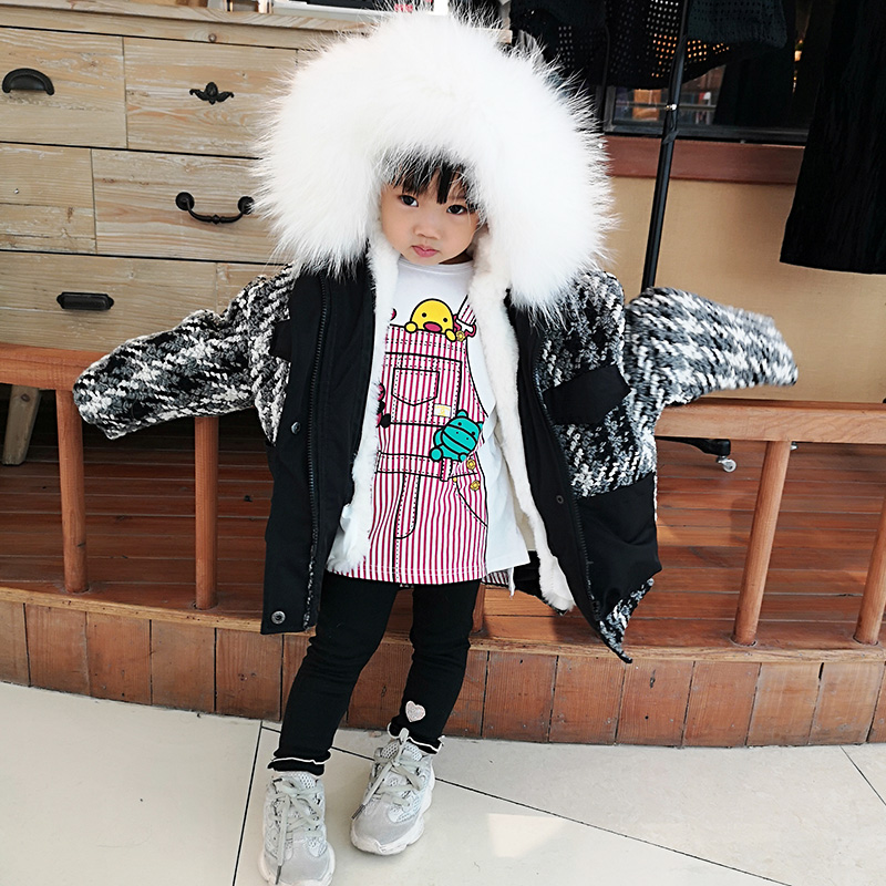 Girls Fur Coat 2018 New Winter Warm Children Outwear Real Raccoon Fur Collar Boys Parka Natural Rabbit Fur Lining Jacket TZ349