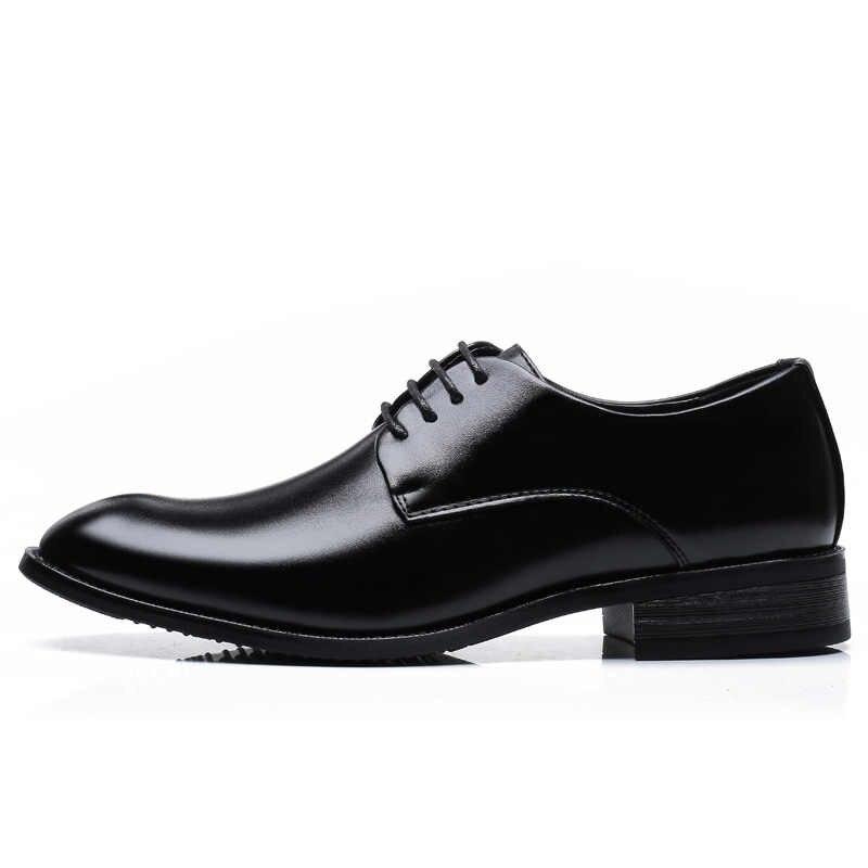 YIGER Erkekler resmi ayakkabı erkek oxford ayakkabı deri dantel-up büyük boy erkek elbise ayakkabı siyah kahverengi büyük boy erkek resmi ayakkabı 0335
