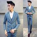 3piece Men Suit New Korean Slim Fit Elastic Wedding Dress For Men Fashion Plaid Formal Dress Suits 5XL-M(Blazer+Pant+Vest) Sale