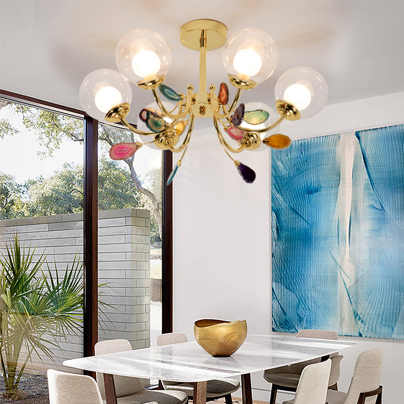 Image 2 - G9 Agate Chandeliers Glass Ball Lampshade Hanging Lamps Lustre Lighting Living Room Pendant Chandelier Lights-in Chandeliers from Lights & Lighting