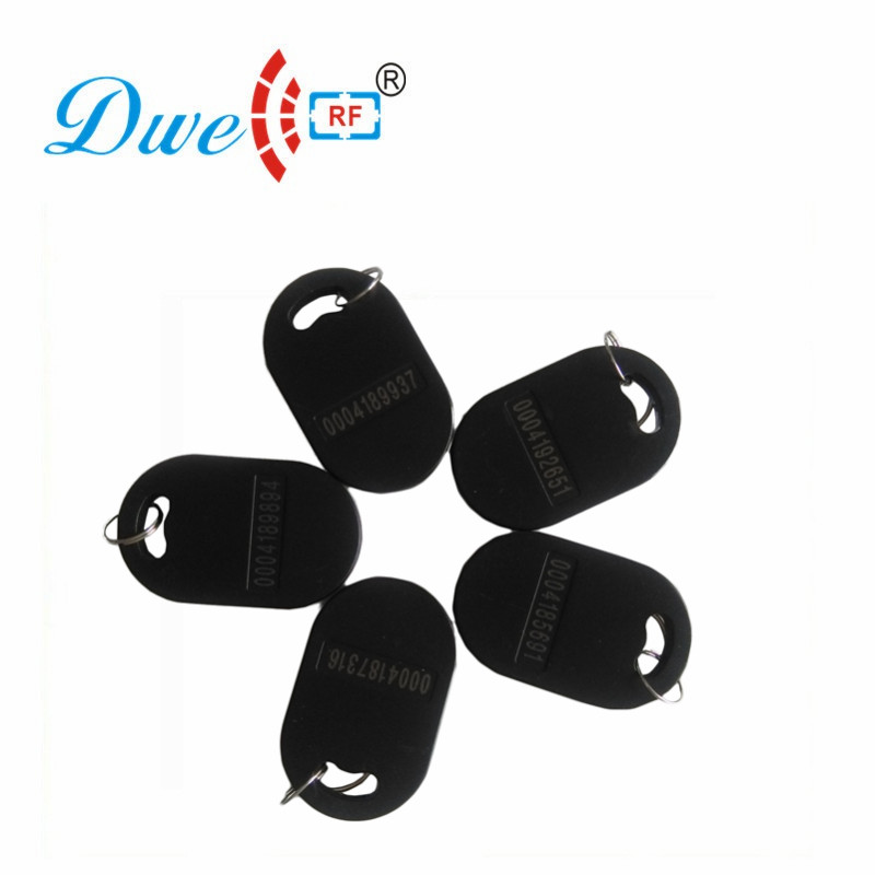 DWE CC RF Access Control Card TK4100 125khz 13.56mhz MF rfid Reader tags Black Keyfobs For RFID Card Reader K011 dwe cc rf 2017 hot sell 13 56mhz 12v wg 26 rfid outdoor tag reader for security access control system