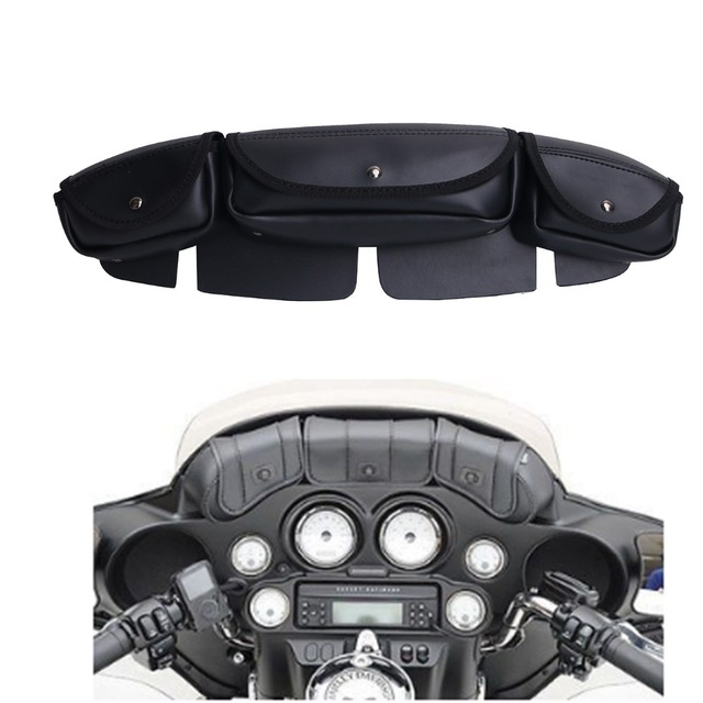 Black Windshield Bag Saddle 3 Pouch Pocket Fairing For Harley Touring Electra Street Glide Most Motorcycles
