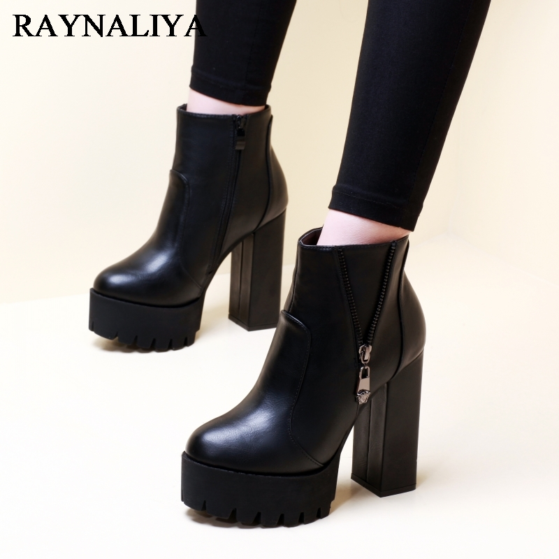 2018 Women Out Door Ankle Boots Shoes Black Zip Short Plush Round Toe Square High Heels Boots For Ladies Size 34-39 CH-A0004 esveva 2018 women boots square heels pu leather short plush out door high heels ankle boots round toe ladies boots size 34 43