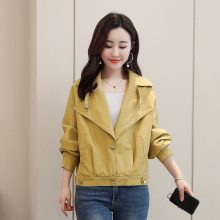 New Fashion Women's Autumn and Winter Yellow Imitation Leather Jacket Ladies Bomber Motorcycle Cool Jacket PU Fur Coat цена и фото