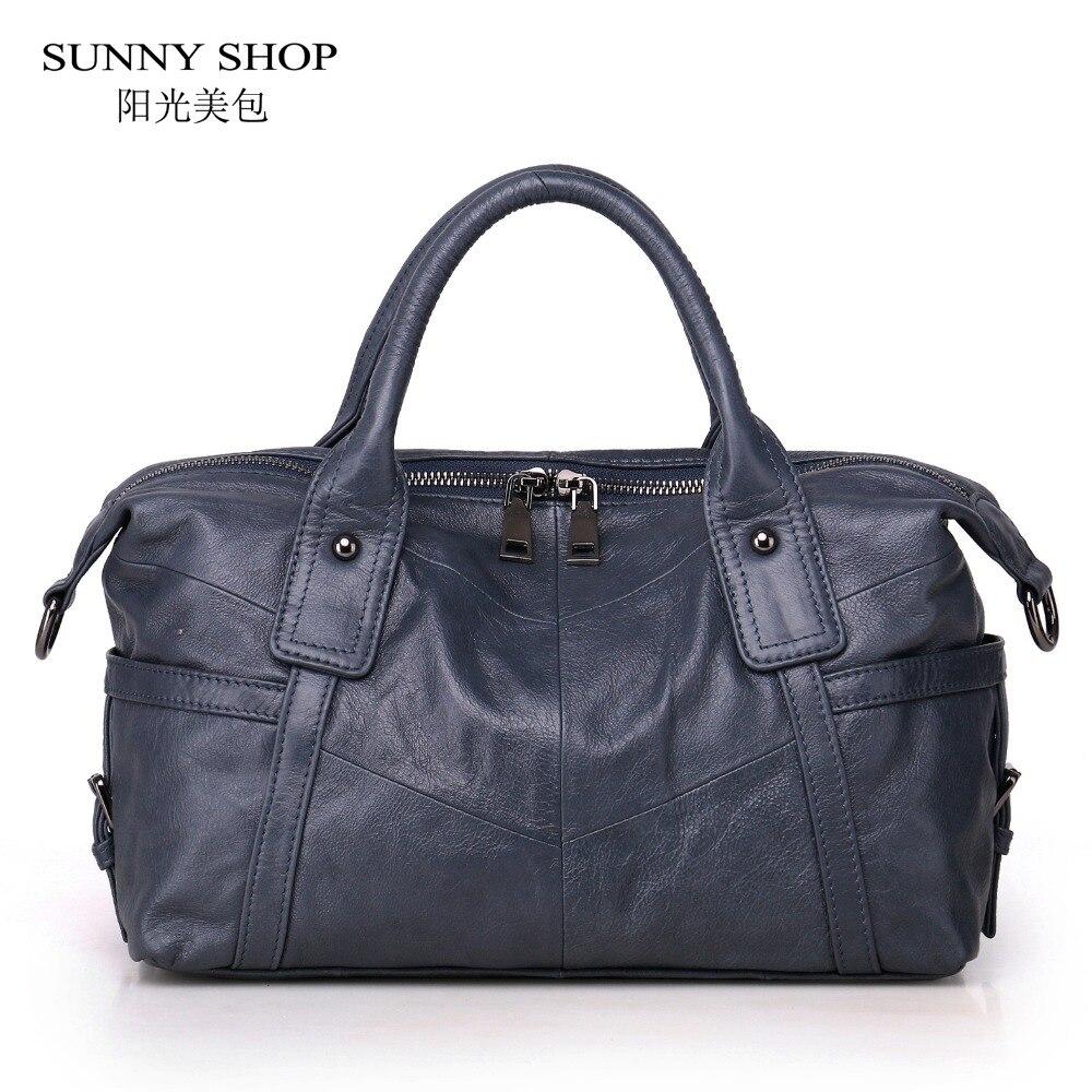 SUNNY SHOP Original Designer Luxury 100% Genuine Leather Women Bag Vintage Leather Shoulder Bags Unsex Crossbody Messenger Bag