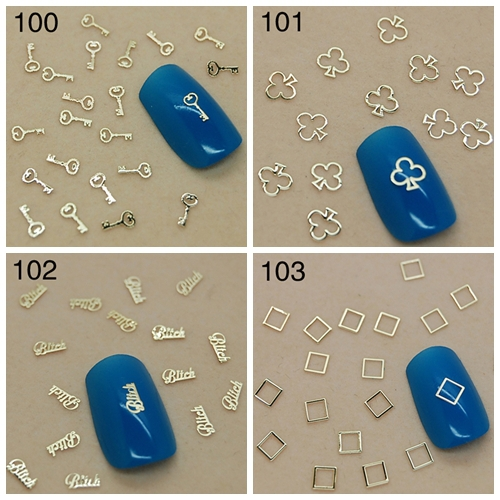 Купить с кэшбэком 800pcs/bags Gold Key Pump Bitch Square Alloy Nail Art Rhinestones Decorations Sequins Tips 100#-103#
