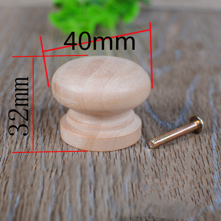 No Paint Solid Wood Handle Single Hole Cabinet Door Drawer Handle Large Mushroom Handle Round Wood Handle(A305)