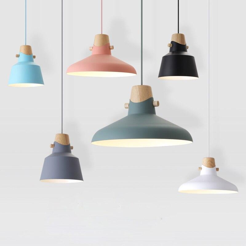 Wood Pendant Lights E27 Aluminum Lampshade Restaurant Bar Decor Lighting Light Fixtures