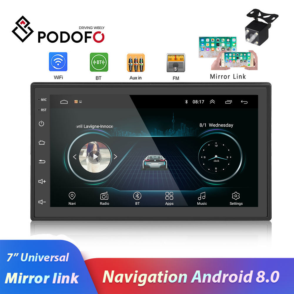 Podofo 2 Din Car radio Android Multimedia Player GPS Navigation 7 HD Touch Screen Digital Display
