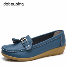 Dobeyping 2018 nueva llegada zapatos mujer cuero genuino mujeres pisos Slip  On Women s mocasines mujer zapato 8f0b1b7caec