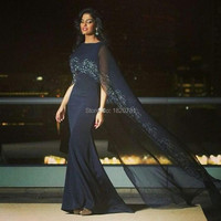 2019 Саудовская вечерние платья расшитые бисером течет мыс темно синие арабский Формальные вечернее платье суд Поезд индивидуальный заказ