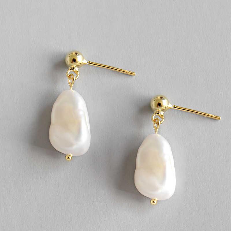 100% s925 prata esterlina brinco barroco irregular natural de água doce pérola casamento gota brincos para a moda feminina jóias