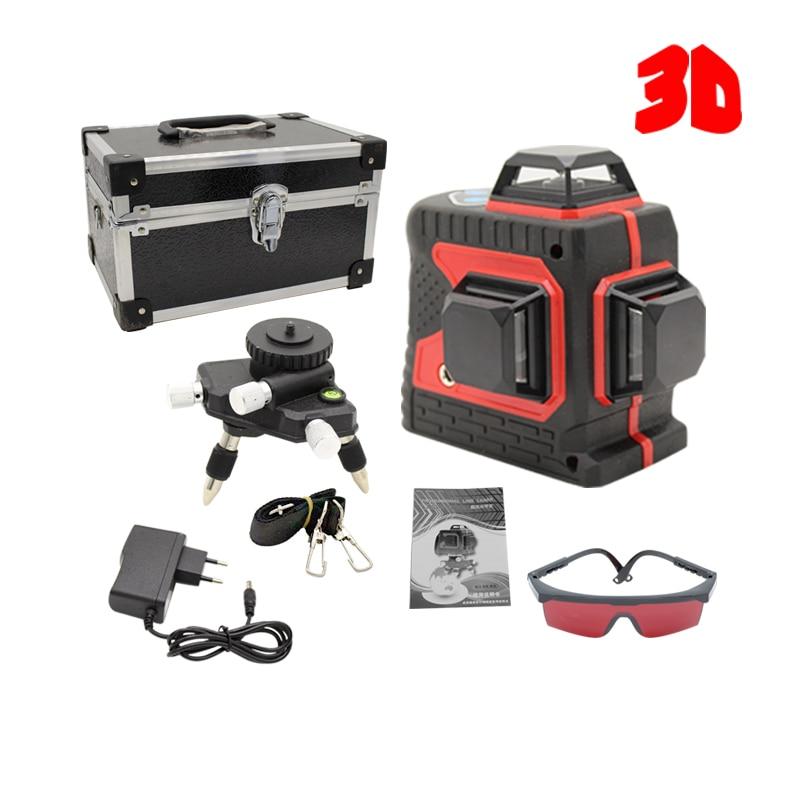 3D Rouge 12 Lignes Niveau Laser Auto-Nivellement 360 Horizontal Et Vertical Croix Super Puissant Laser Rouge Faisceau Forte ligne