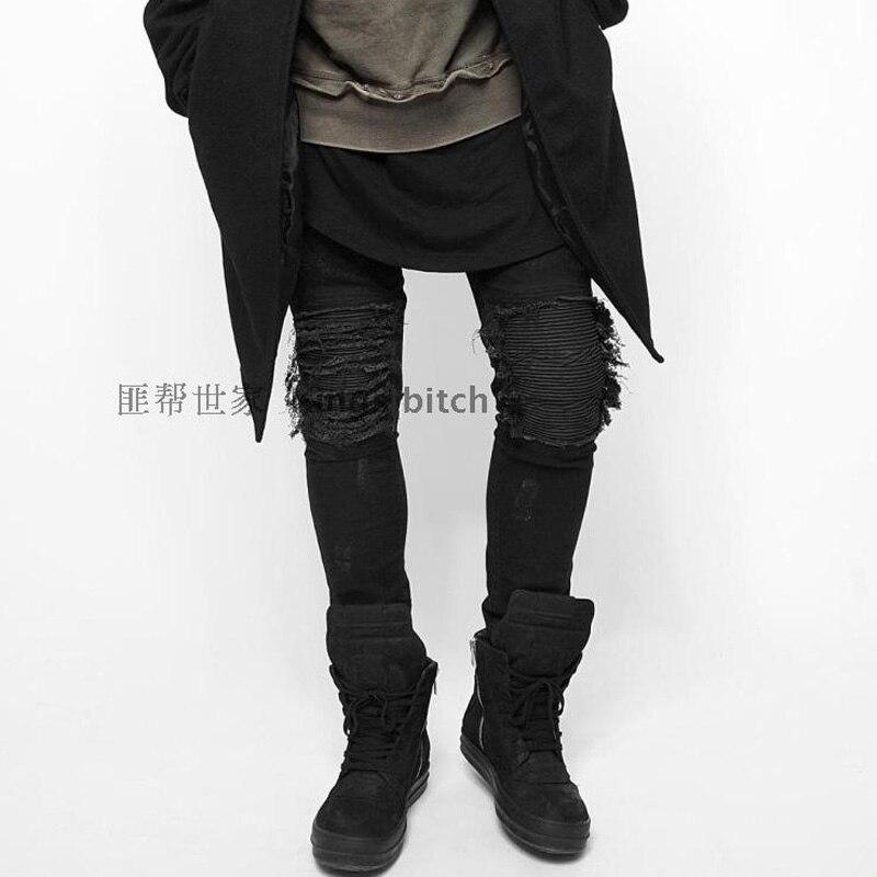 Высокое качество, модные высокие уличные мужские уничтожены джинсы повседневные штаны классные Wash Jogger повреждение джинсы Rock джинсовые байкерские джинсы